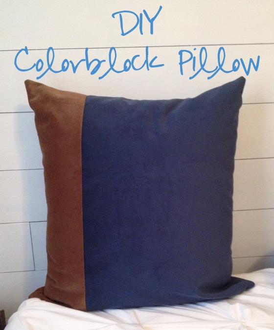 DIY color block pillow with text